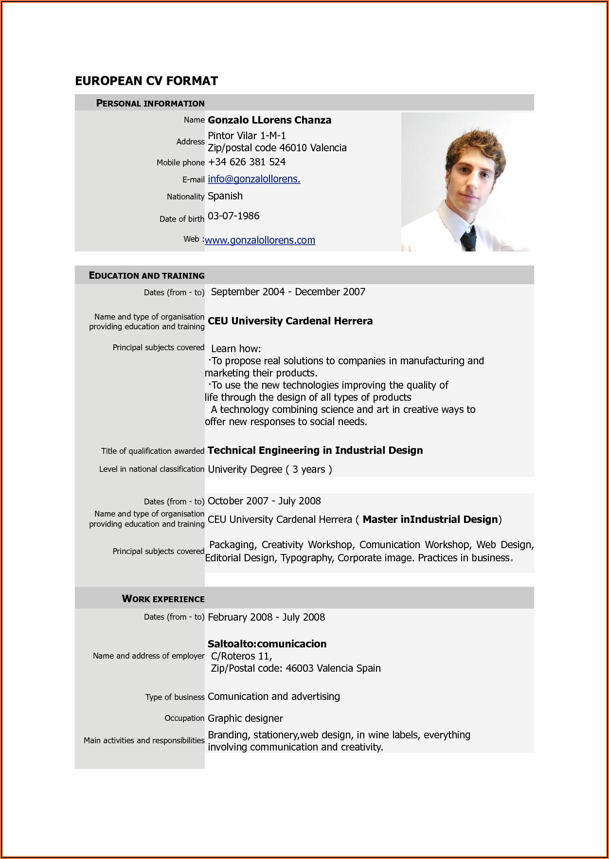 Basic Resume Format Pdf Free Download
