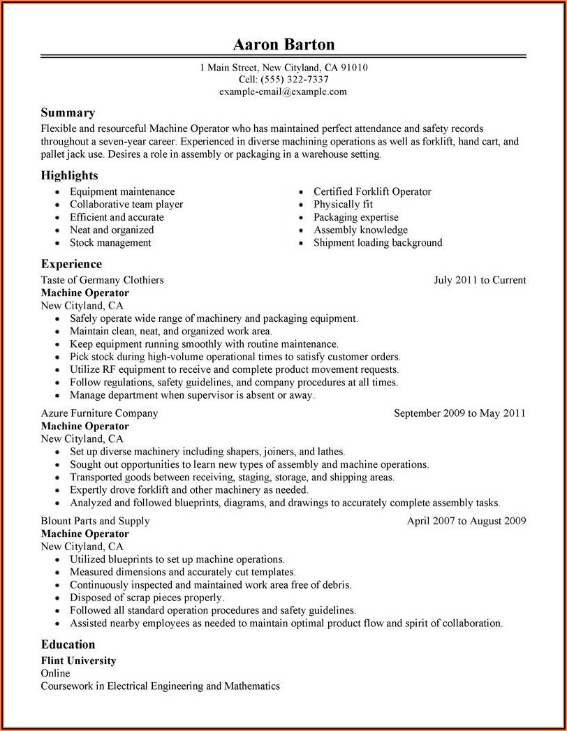 Best Objective For Resume For Machine Operator