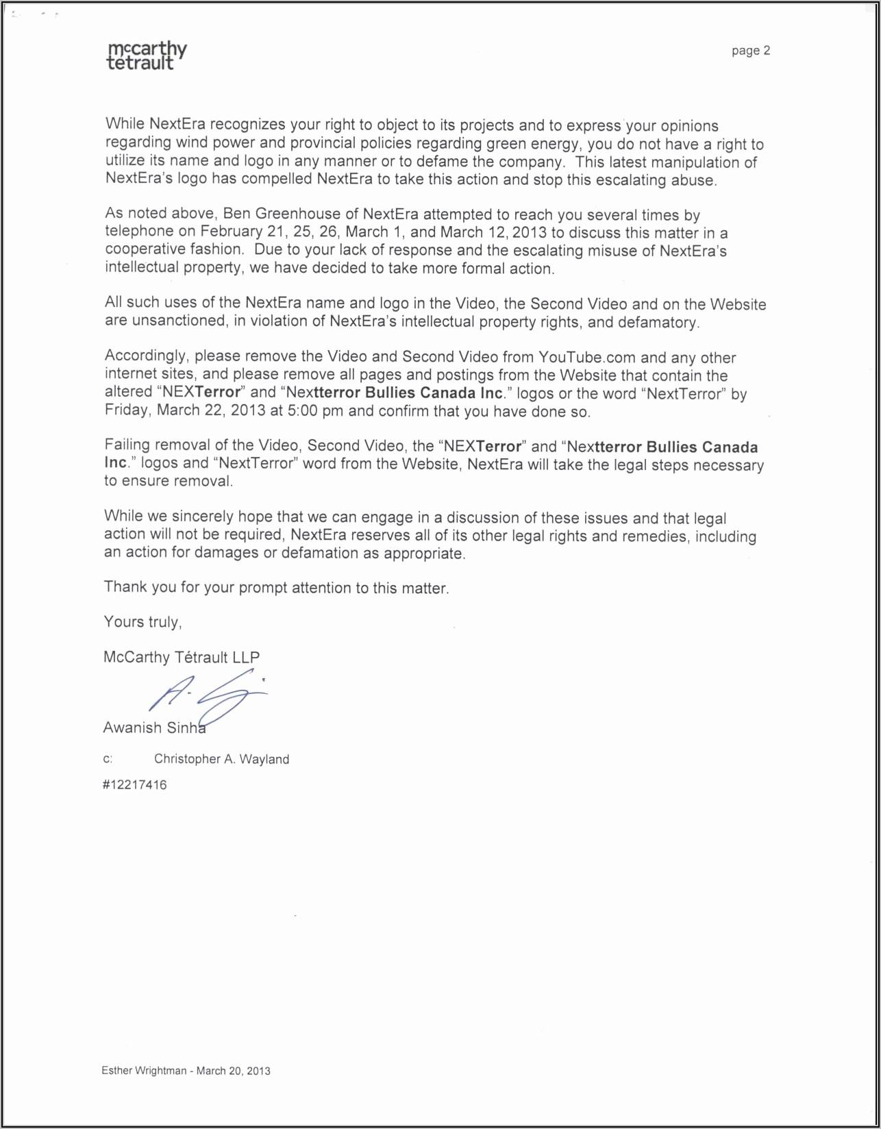 Cease And Desist Harassment Letter Template Uk