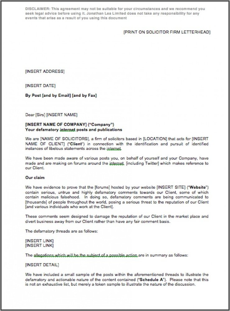 Cease And Desist Letter Template Confidential Information