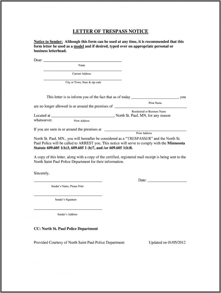 Cease And Desist Letter Template Trespassing