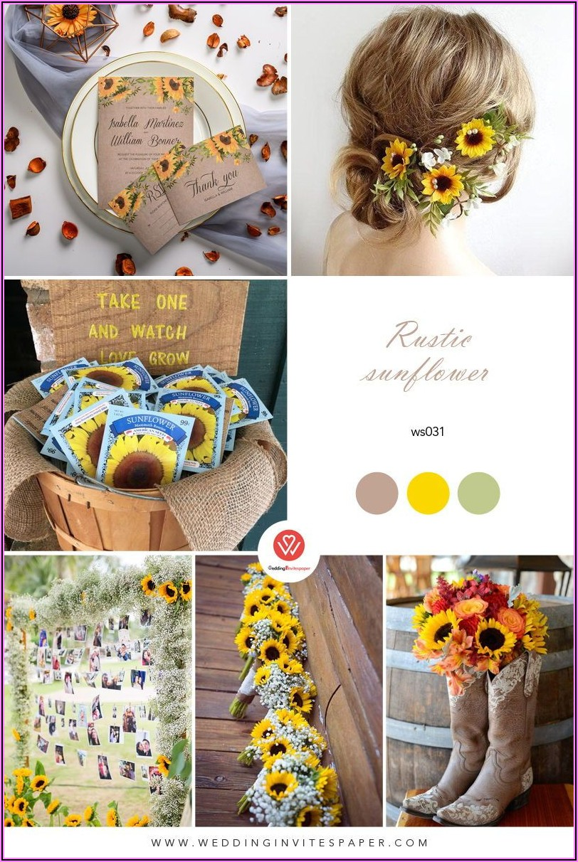 Cheap Rustic Sunflower Wedding Invitations