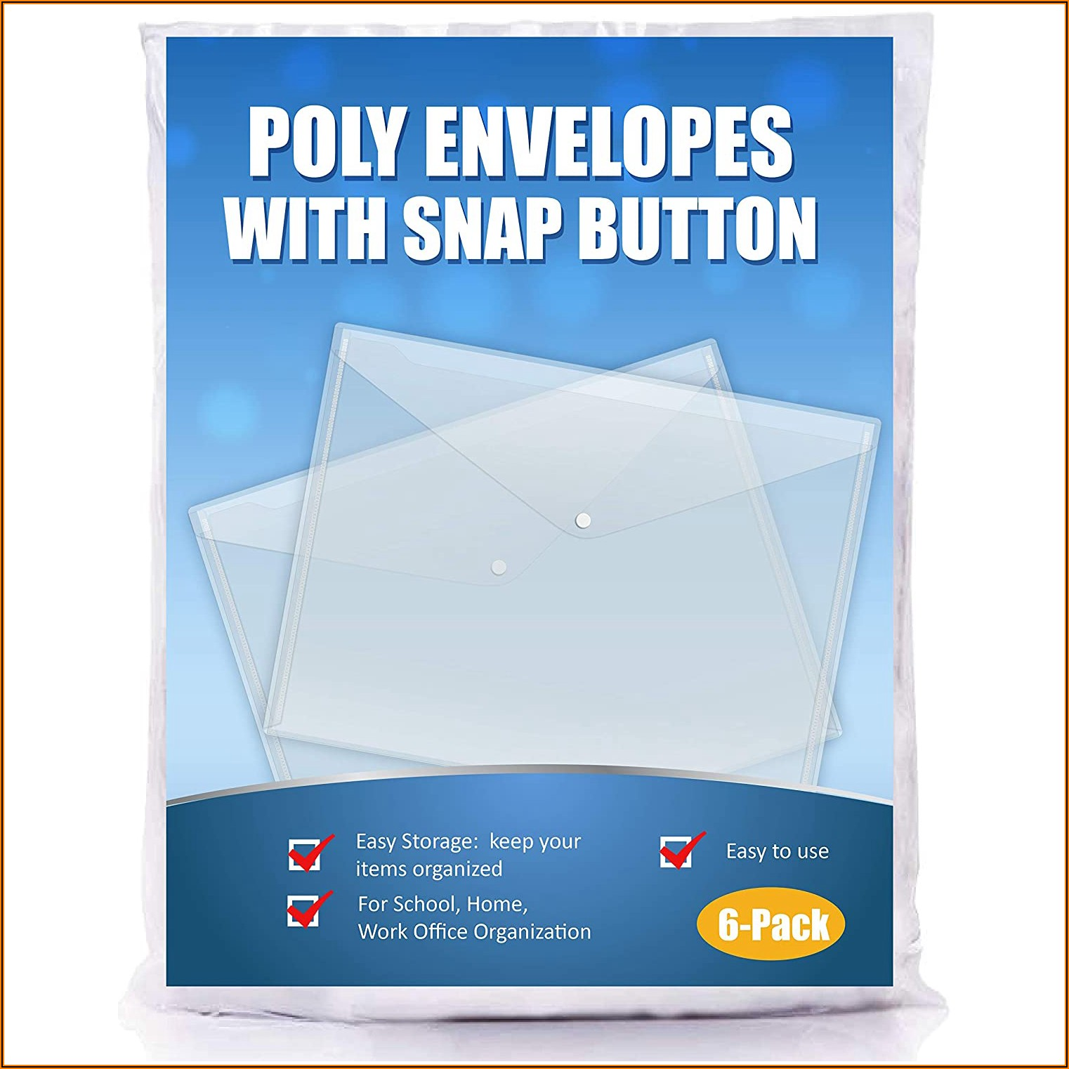 Clear Poly Envelope Snap Closure