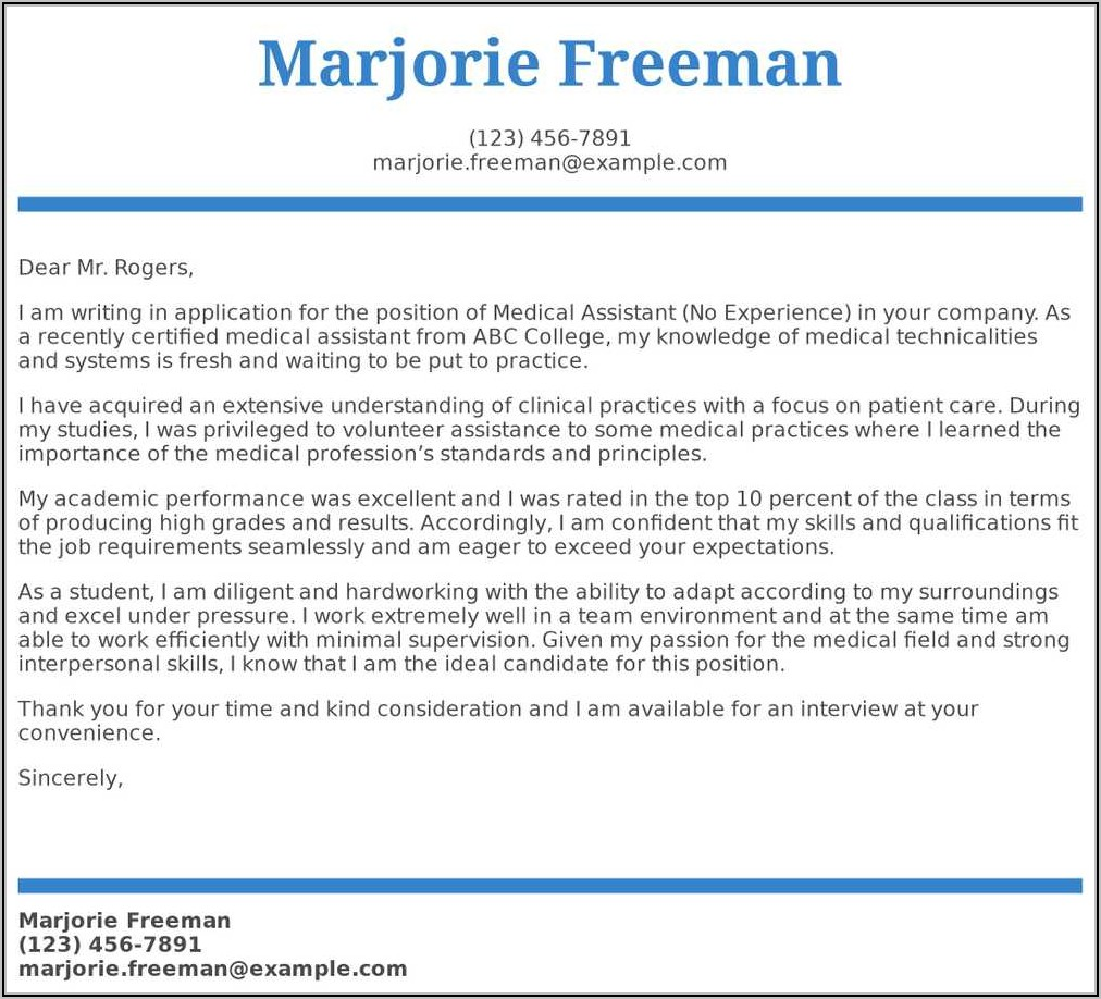 Cover Letter Examples For Medical Assistant Student