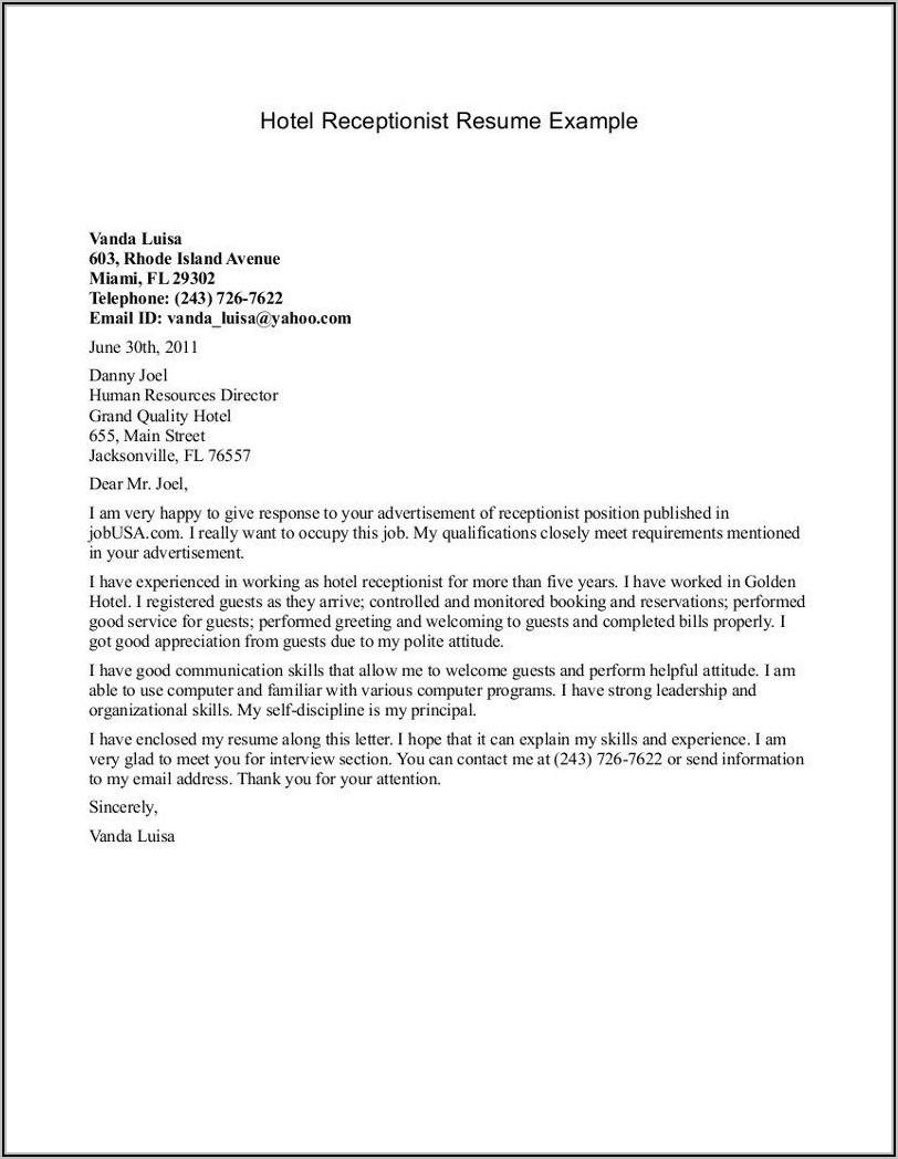 Cover Letter Examples For Medical Front Desk Receptionist