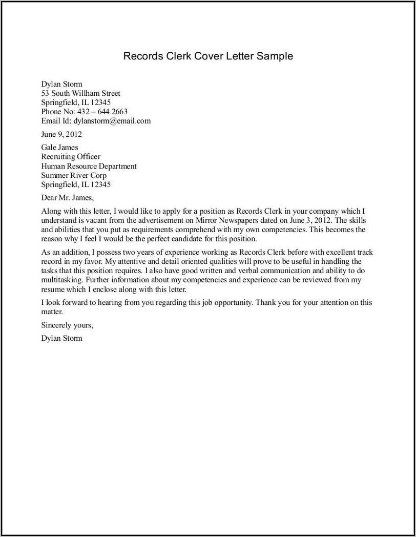 Cover Letter For Bank Clerk Position