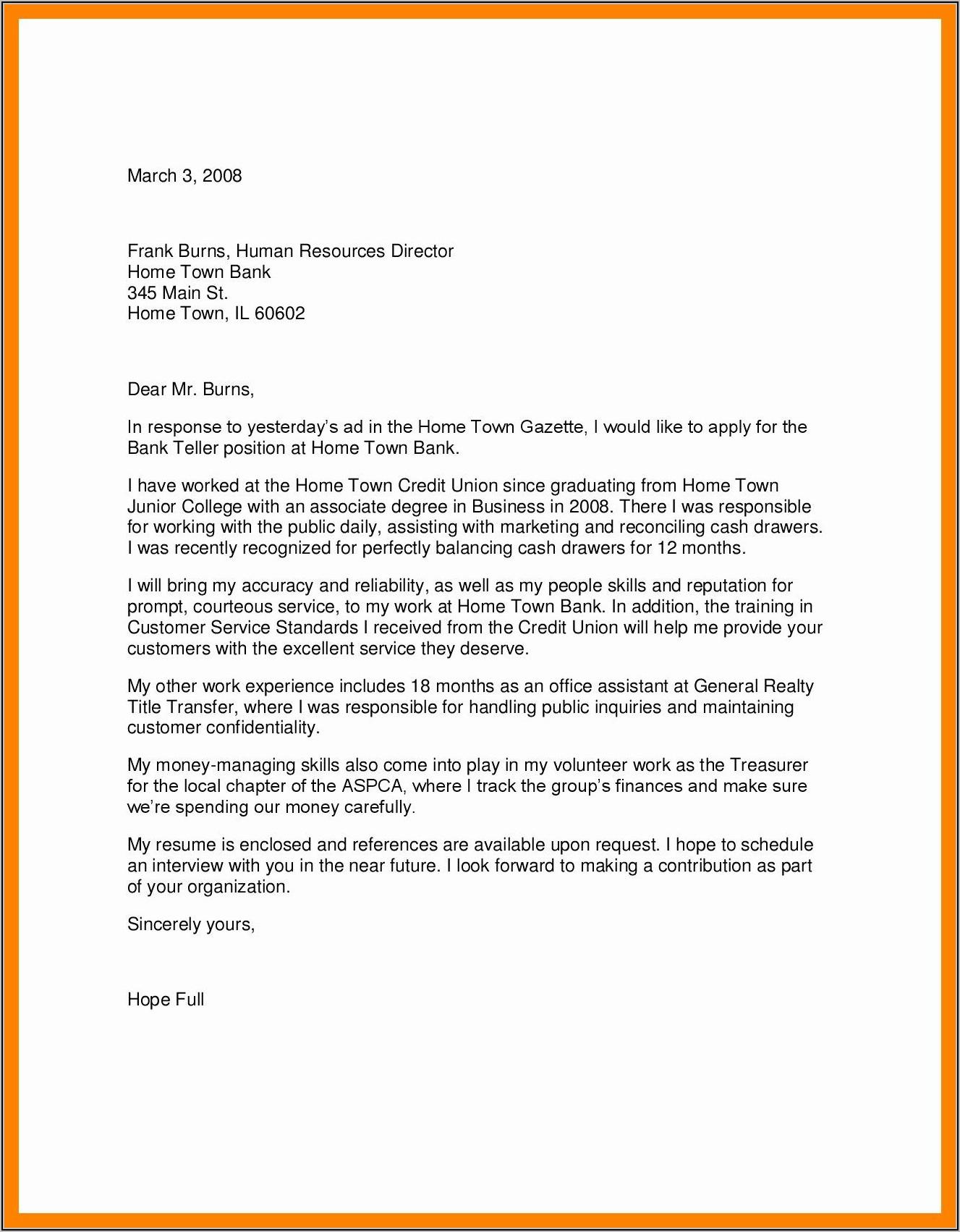 Cover Letter For Bank Teller Job