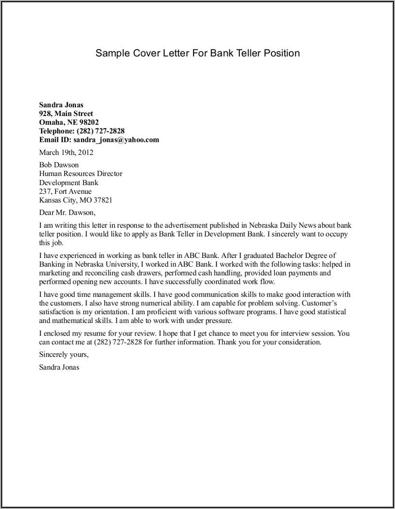 Cover Letter Sample For Bank Teller Position With No Experience