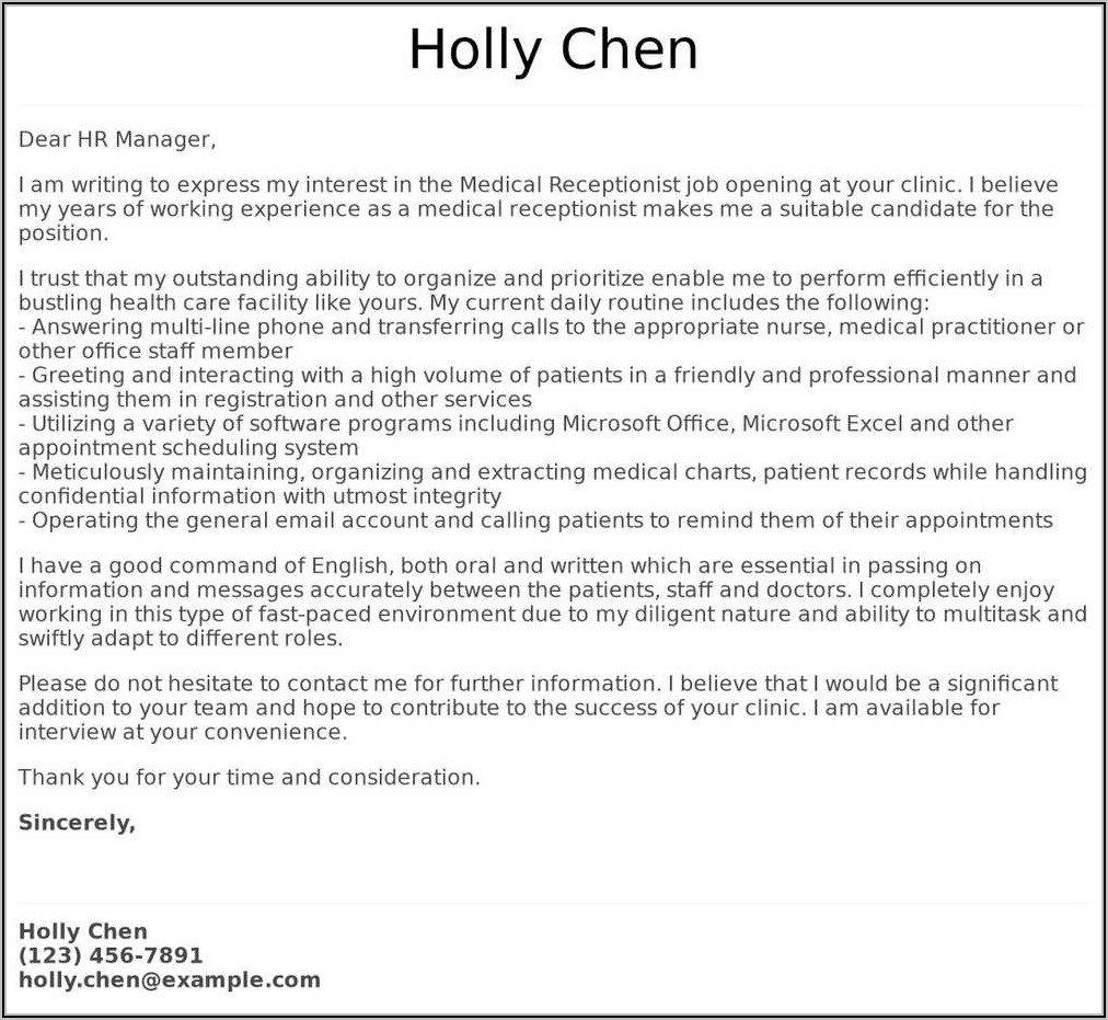Covering Letter For Doctors Receptionist Job