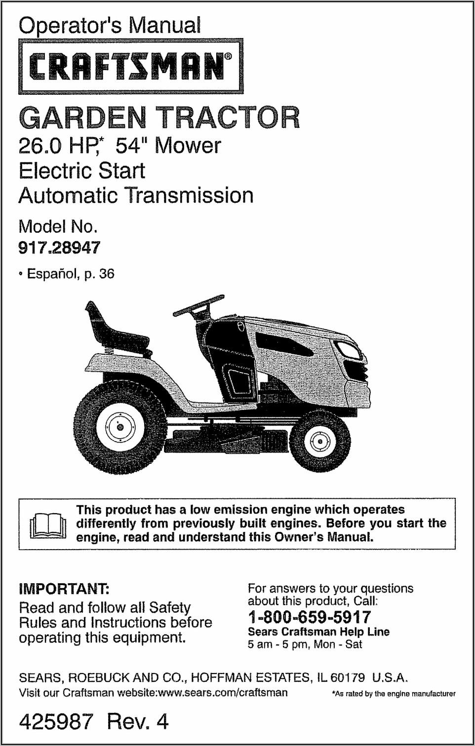 Craftsman Gt5000 Lawn Tractor Parts Diagram