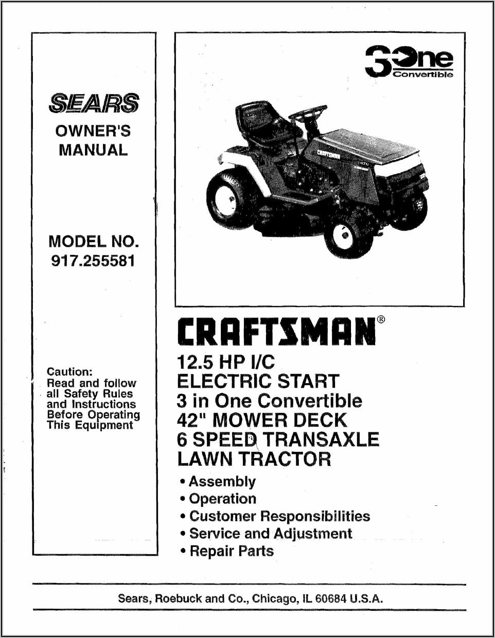 Craftsman Riding Mower Model 917 Parts Diagram