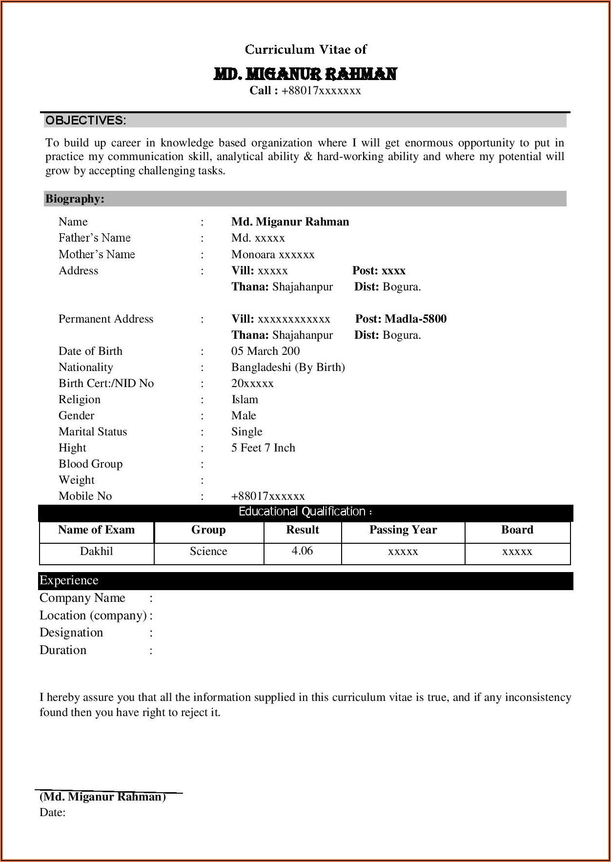 Curriculum Vitae Format Word File Free Download