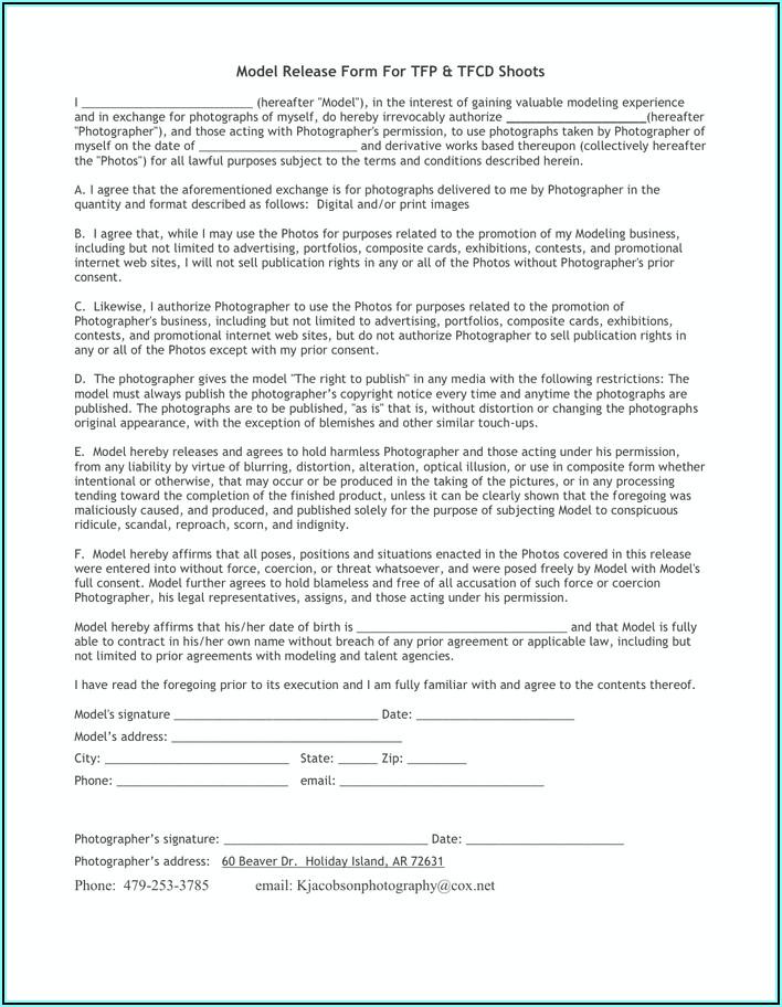 Digital Photo Model Release Form
