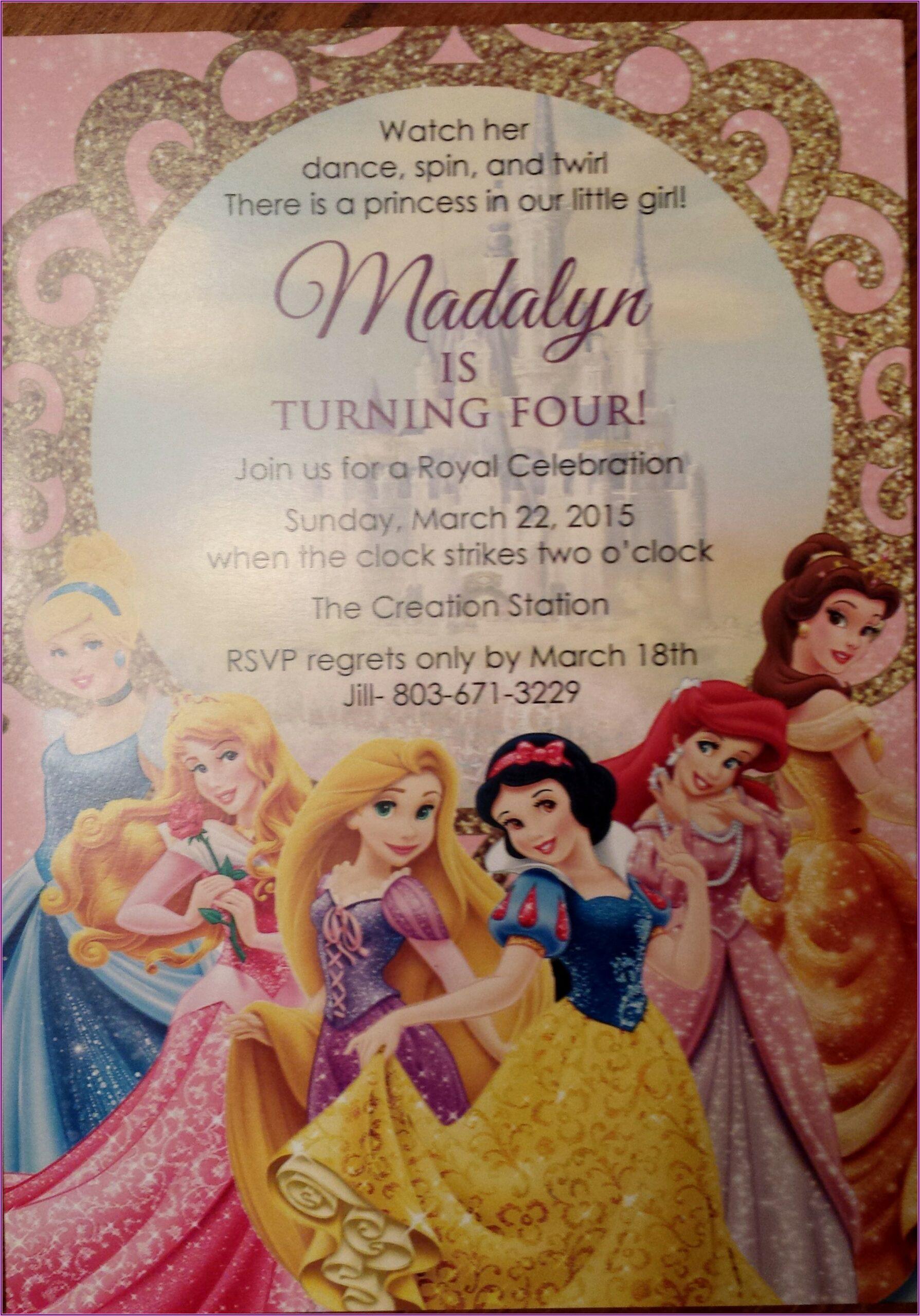 Disney Princess Birthday Invitations Etsy