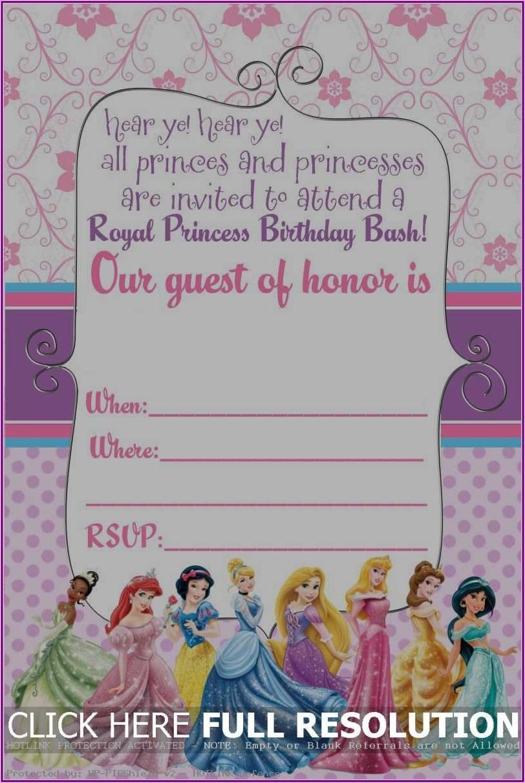 Disney Princess Party Invitations Free