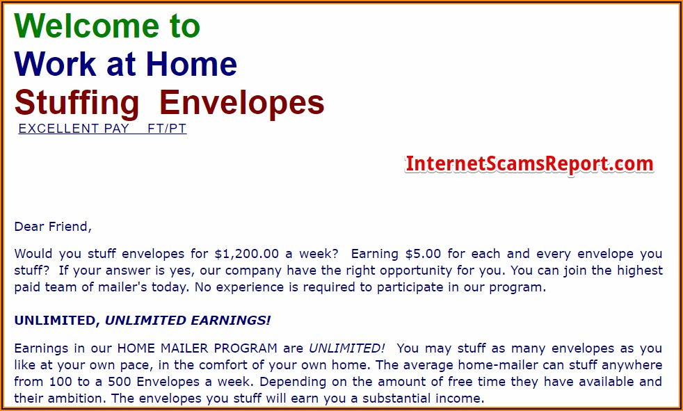 Earn Extra Money At Home Stuffing Envelopes