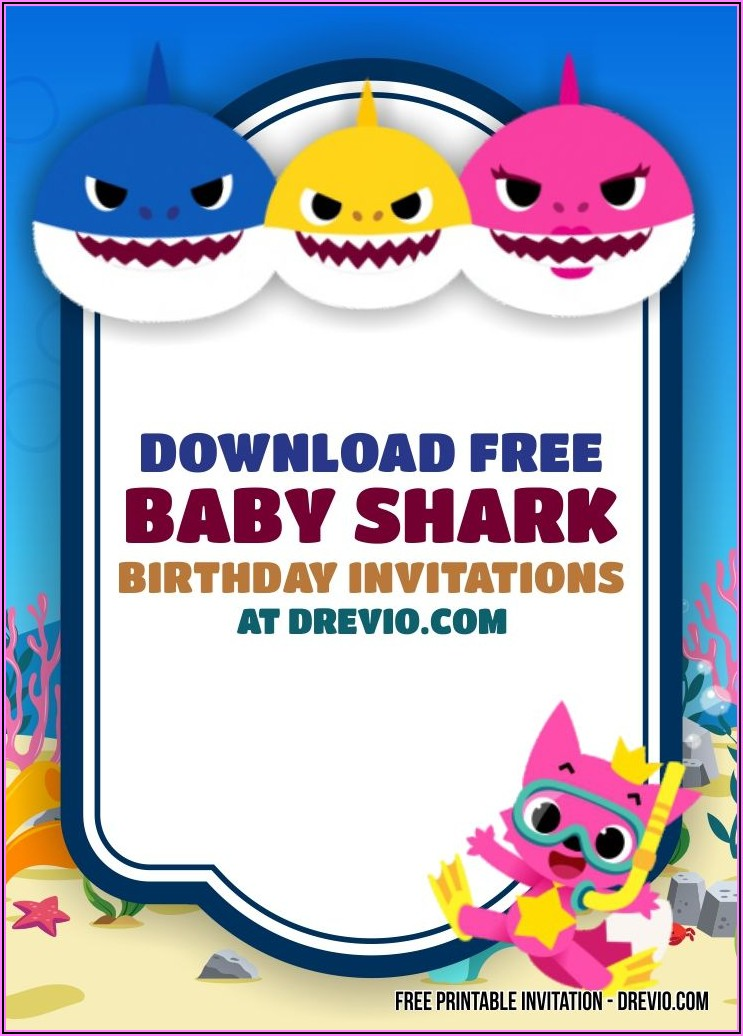 Editable Baby Shark Birthday Invitation Free Template