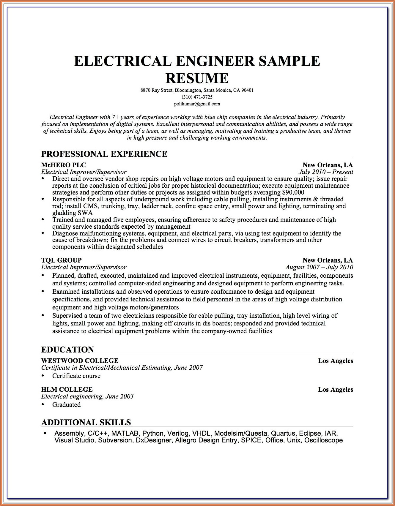 Electrical Foreman Resume Examples