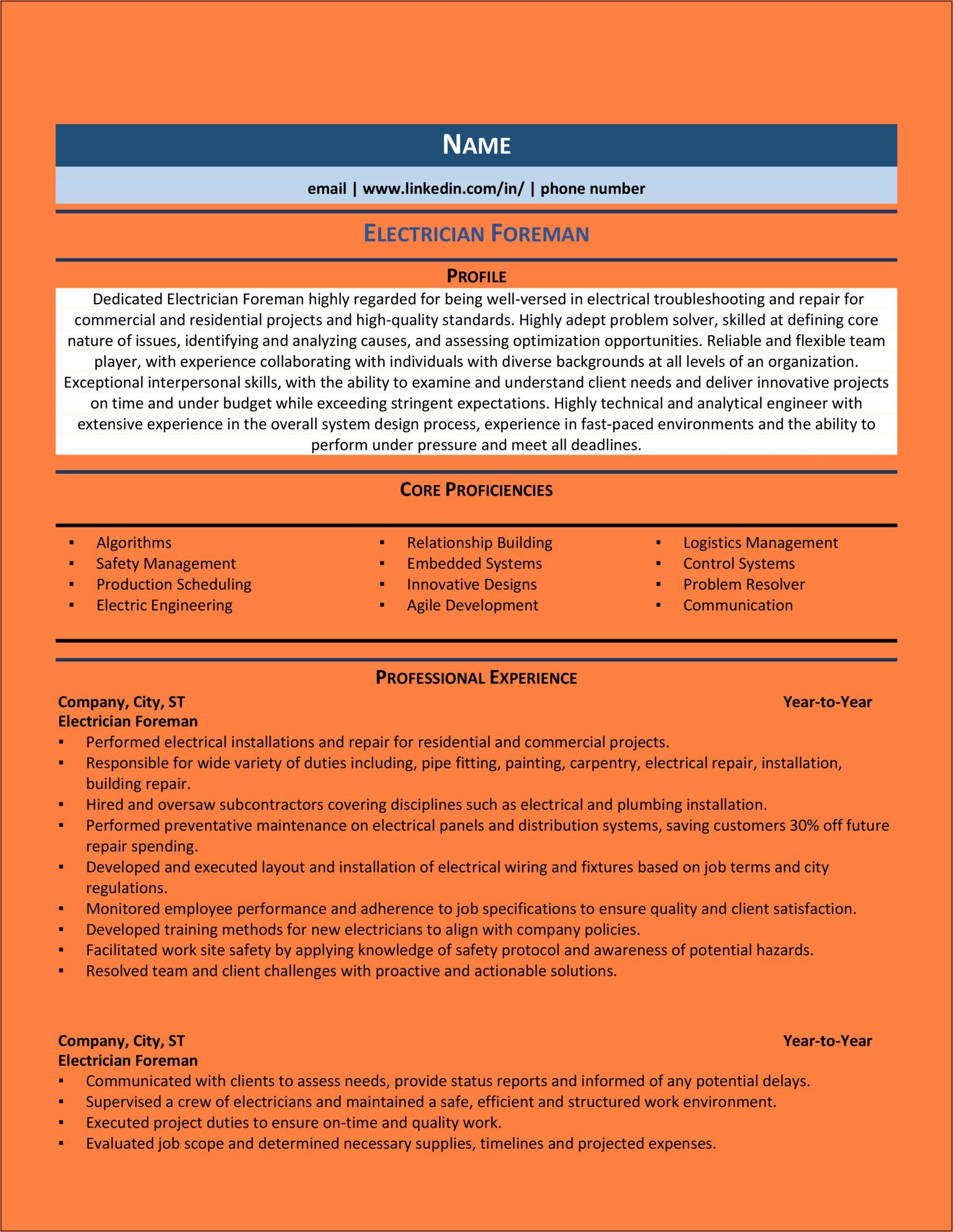 Electrical Foreman Resume Sample