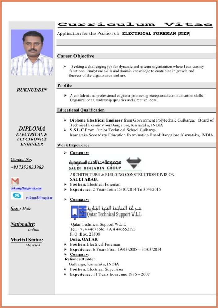 Electrical Foreman Resume Samples