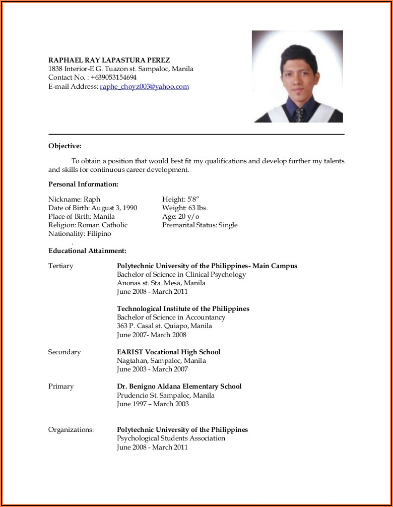 Electrical Technician Resume Format
