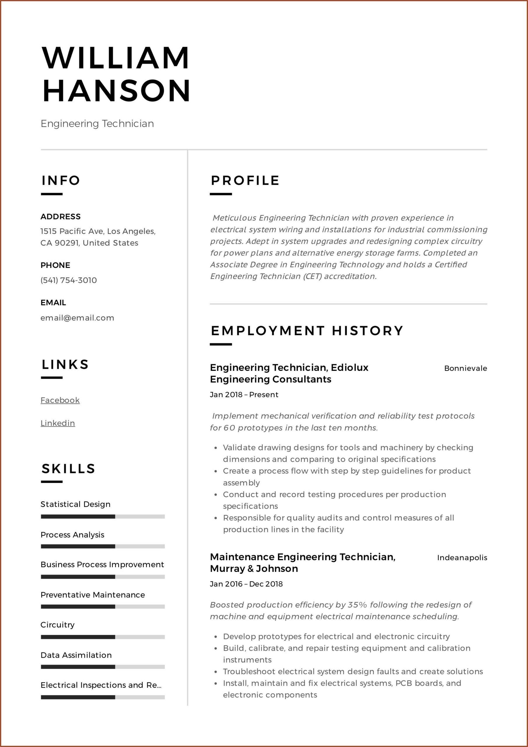 Electrical Technician Resume Sample