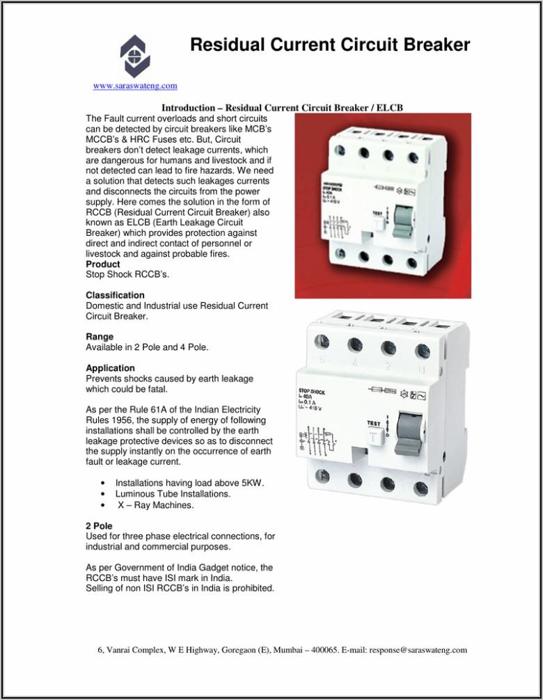 Electronic Earth Leakage Circuit Breaker Diagram