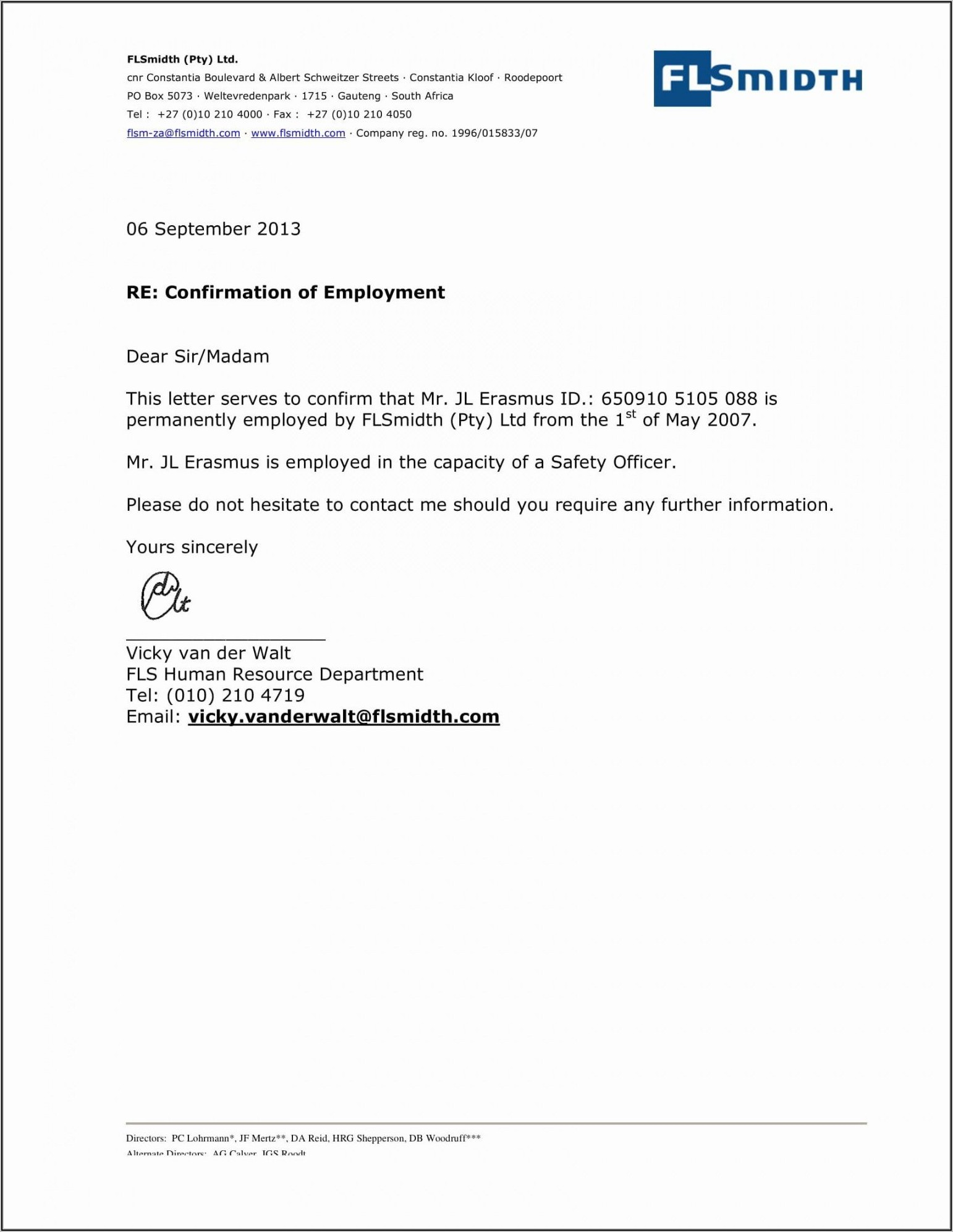 Employment Verification Letter Template Word South Africa