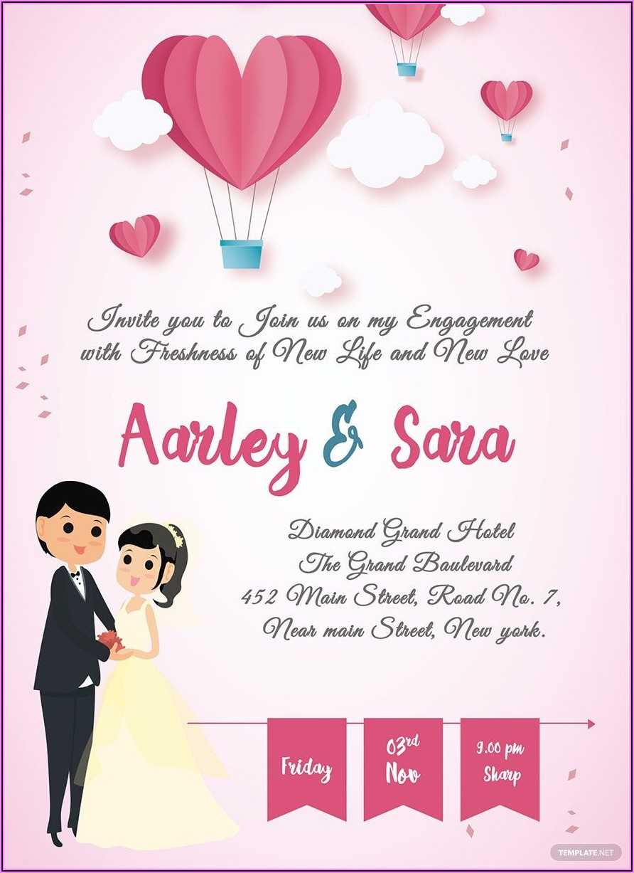 Engagement Invitation Card Template Free Download
