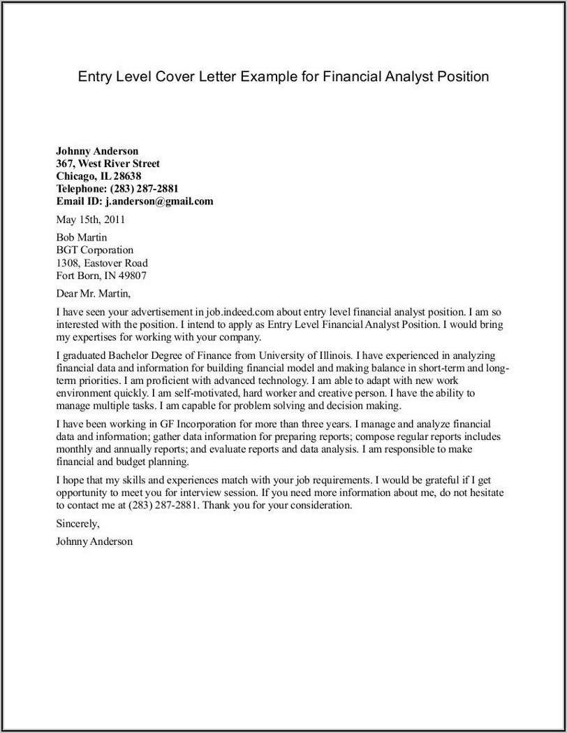 Entry Level Medical Office Assistant Cover Letter