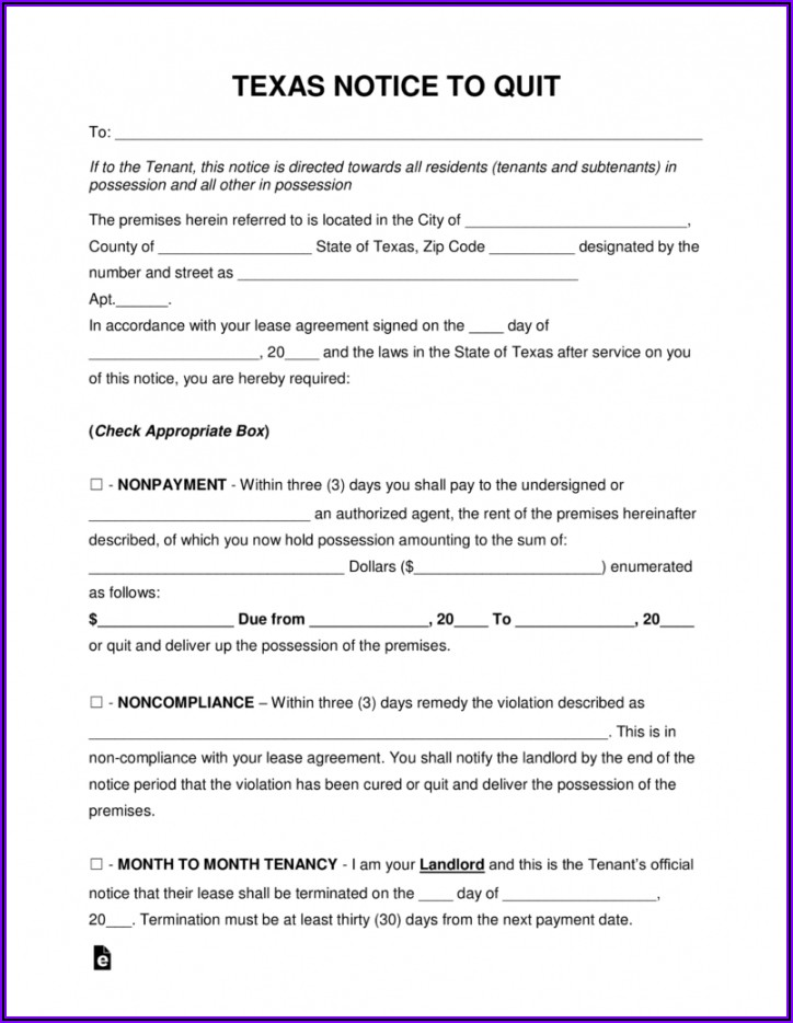 Eviction Notice Template Word Doc