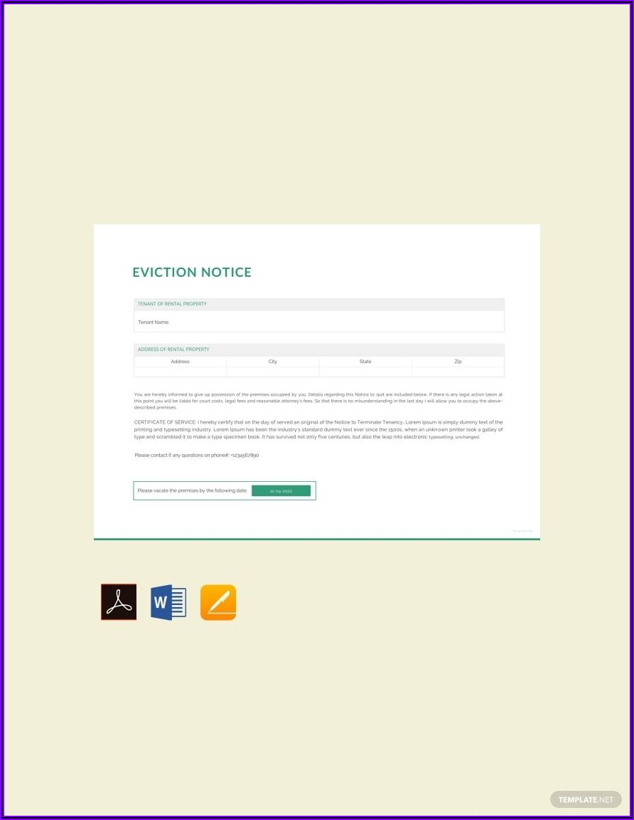 Eviction Notice Template Word Free