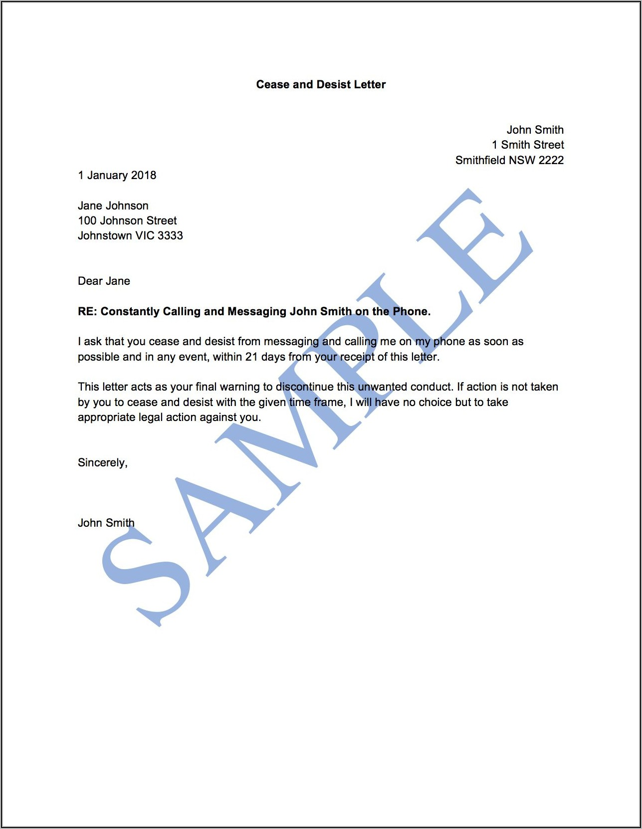 Example Cease And Desist Letter