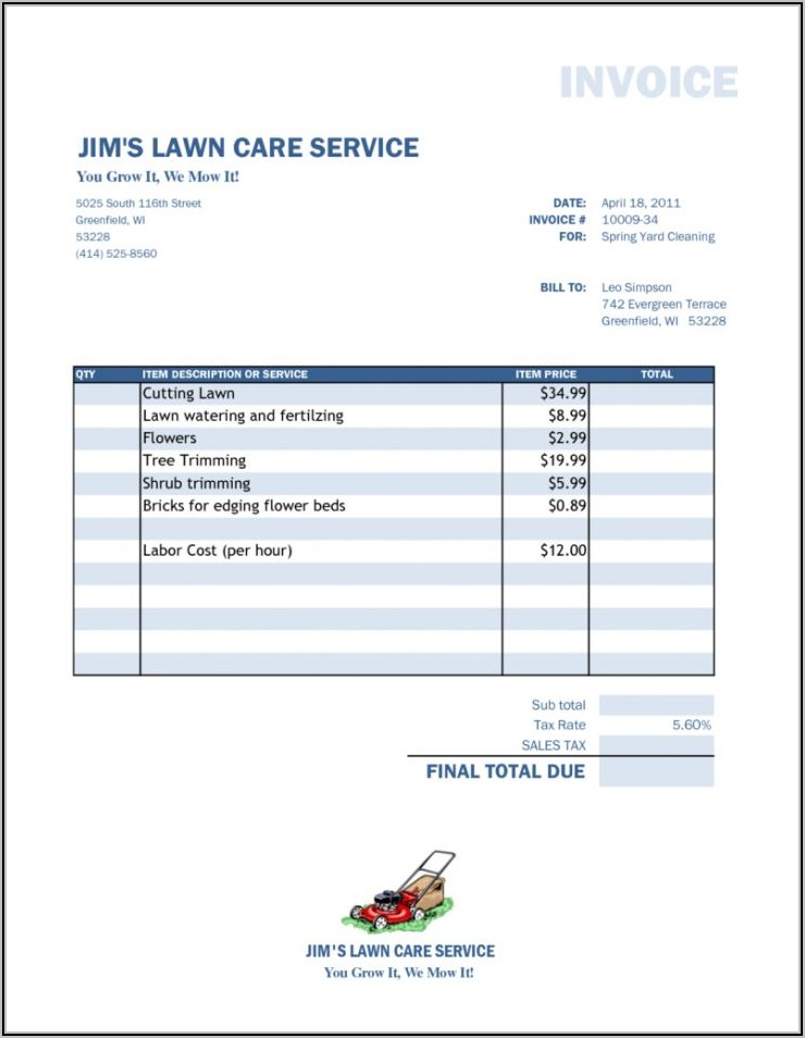 Example Of Lawn Care Invoice