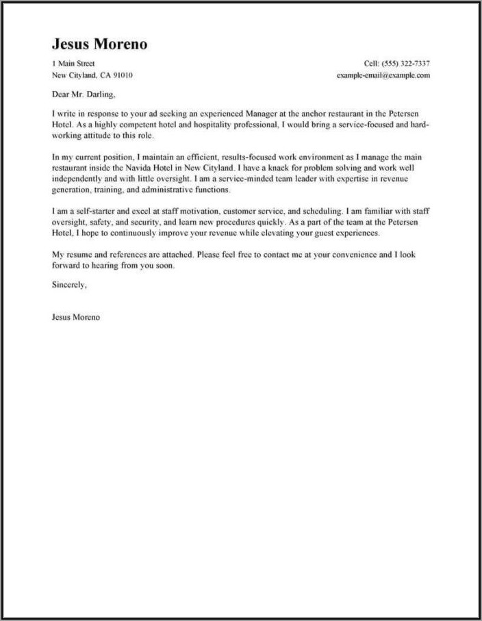 Example Of Professional Cover Letter For Resume