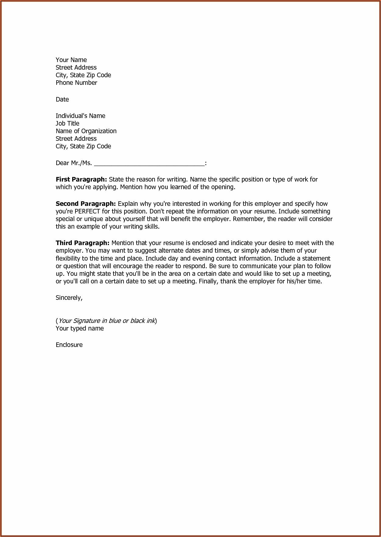 Examples Of Basic Cover Letters For Resumes