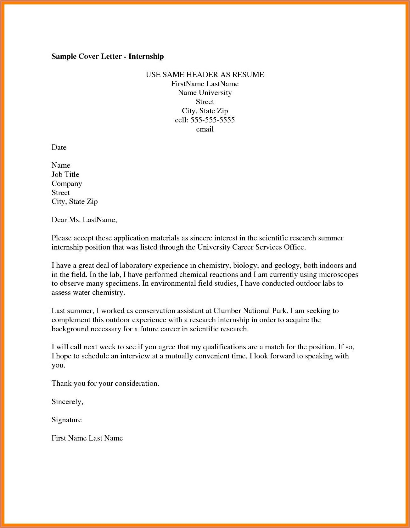 Examples Of Cover Letter For Resume