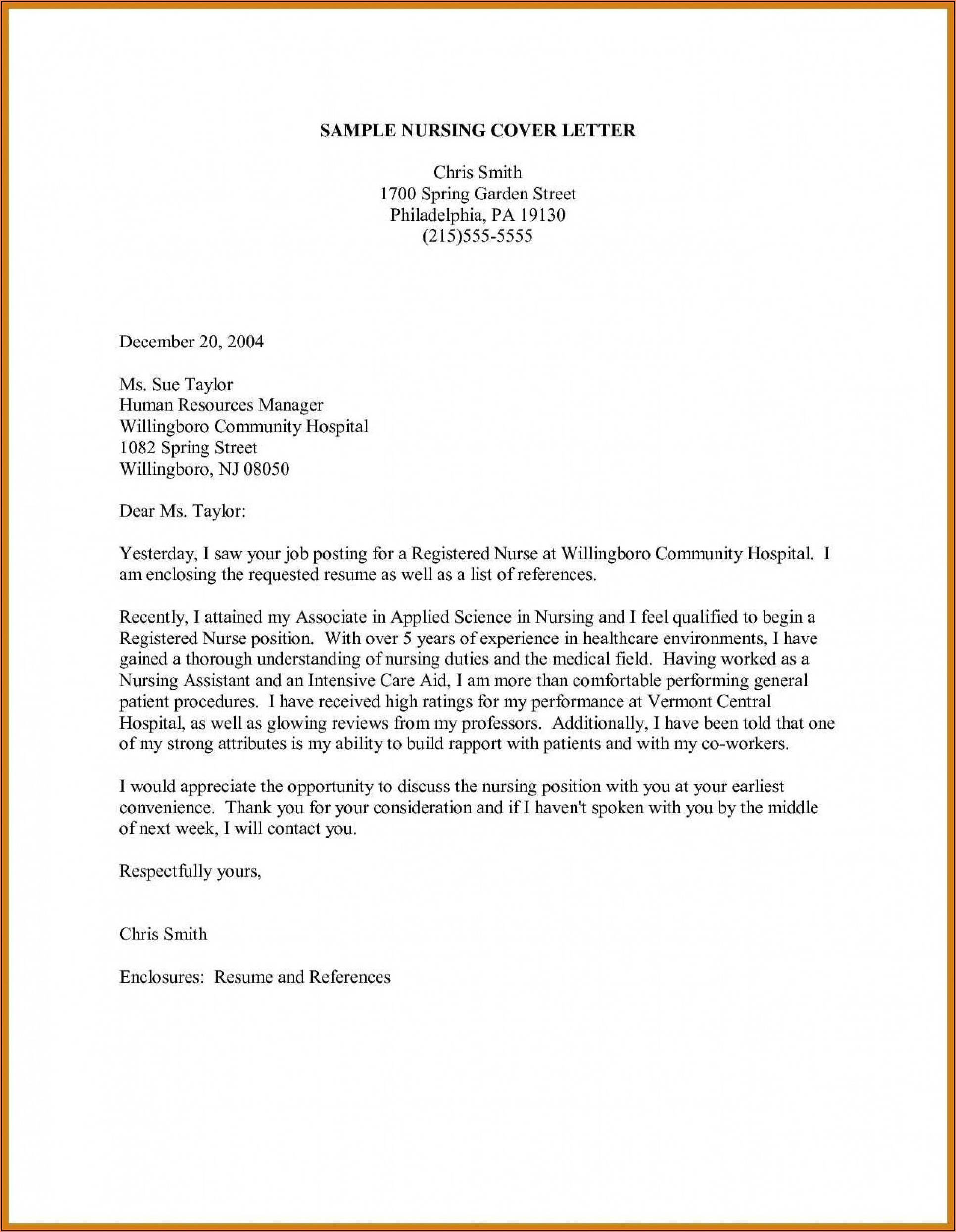 Examples Of Cover Letters For Resumes In The Medical Field