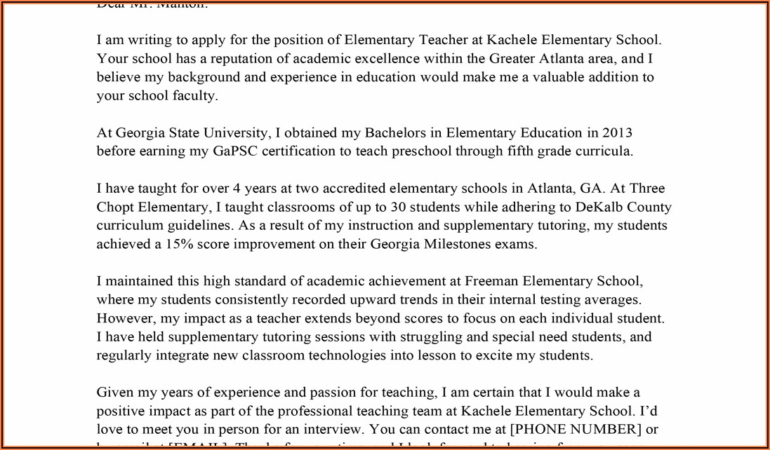 Examples Of Cover Letters For Teacher Resume