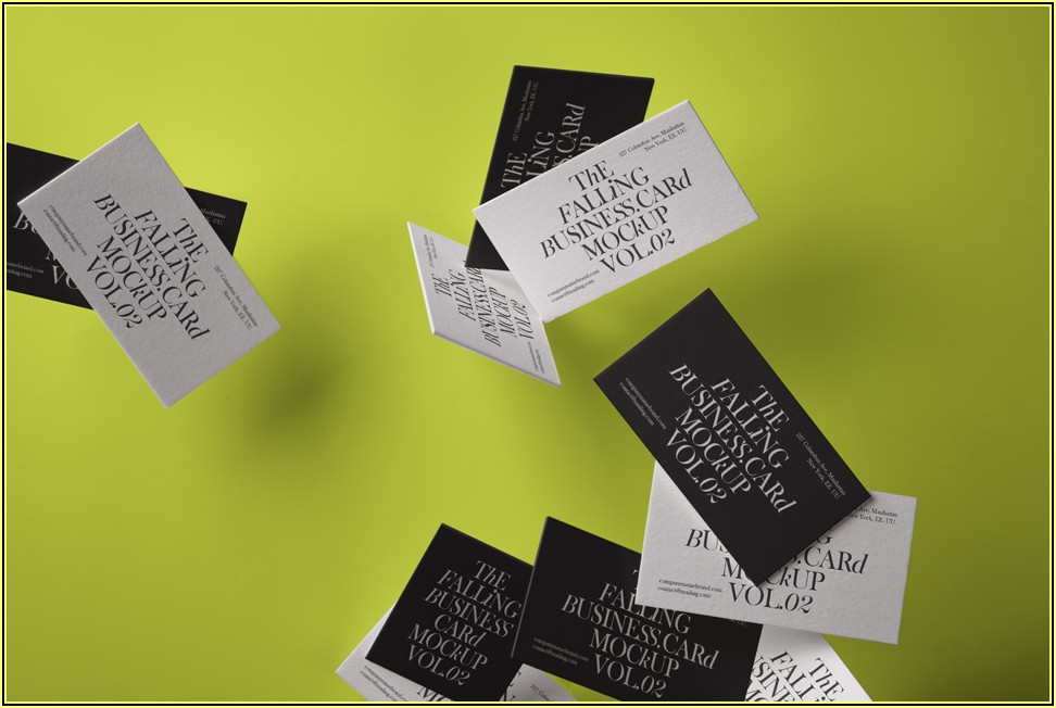 Falling Business Card Mockup