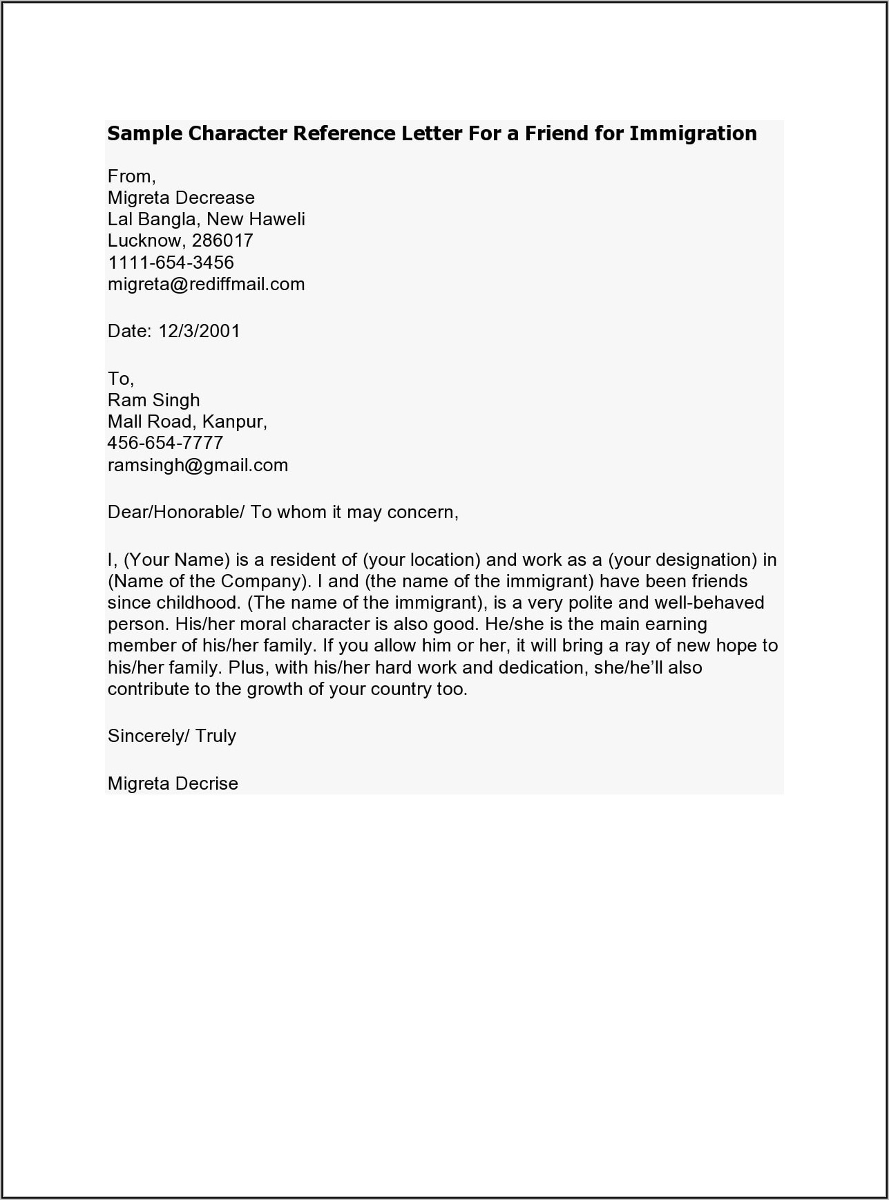 Family Member Good Moral Character Letter For Immigration Sample