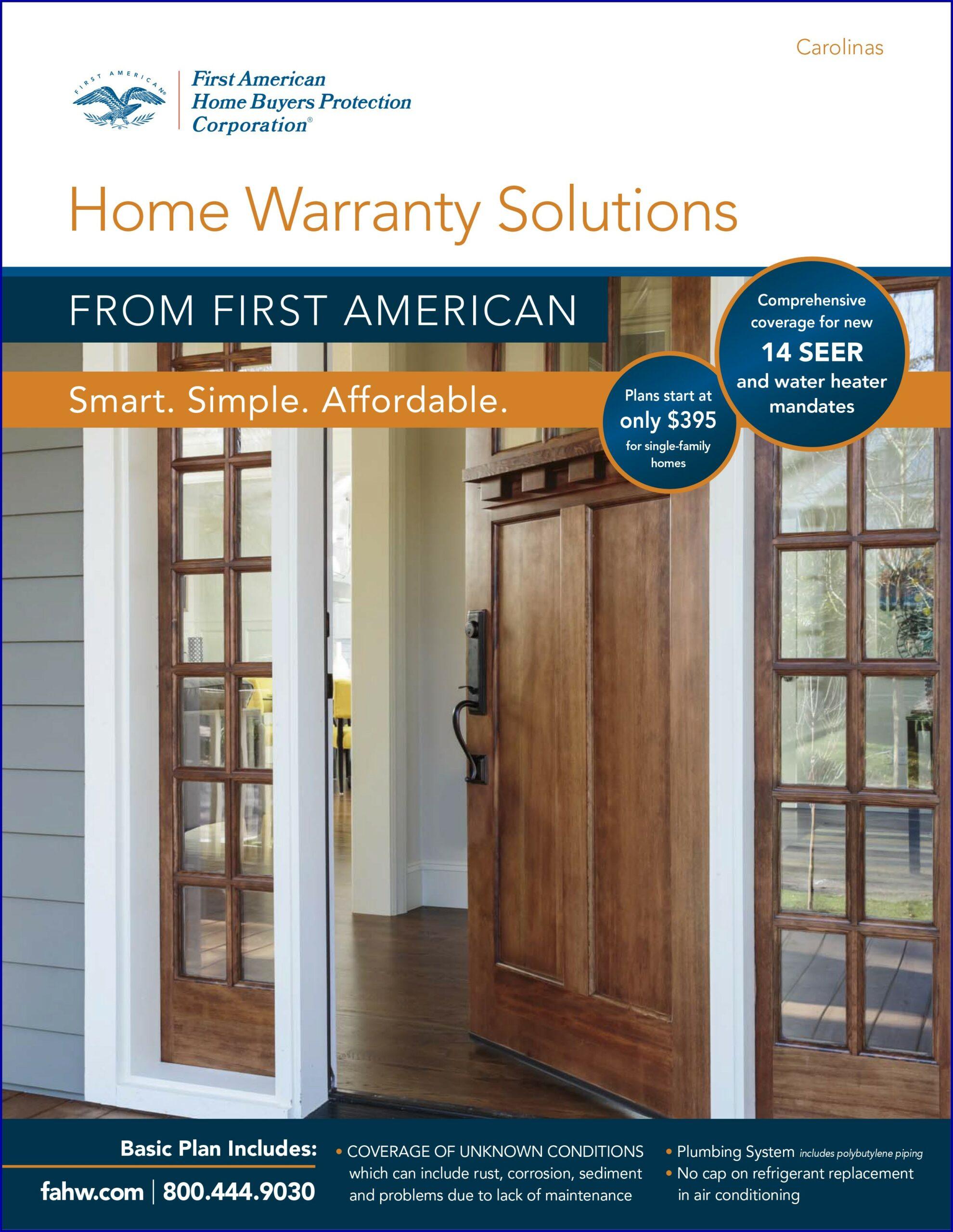 First American Home Warranty Brochure 2018 California