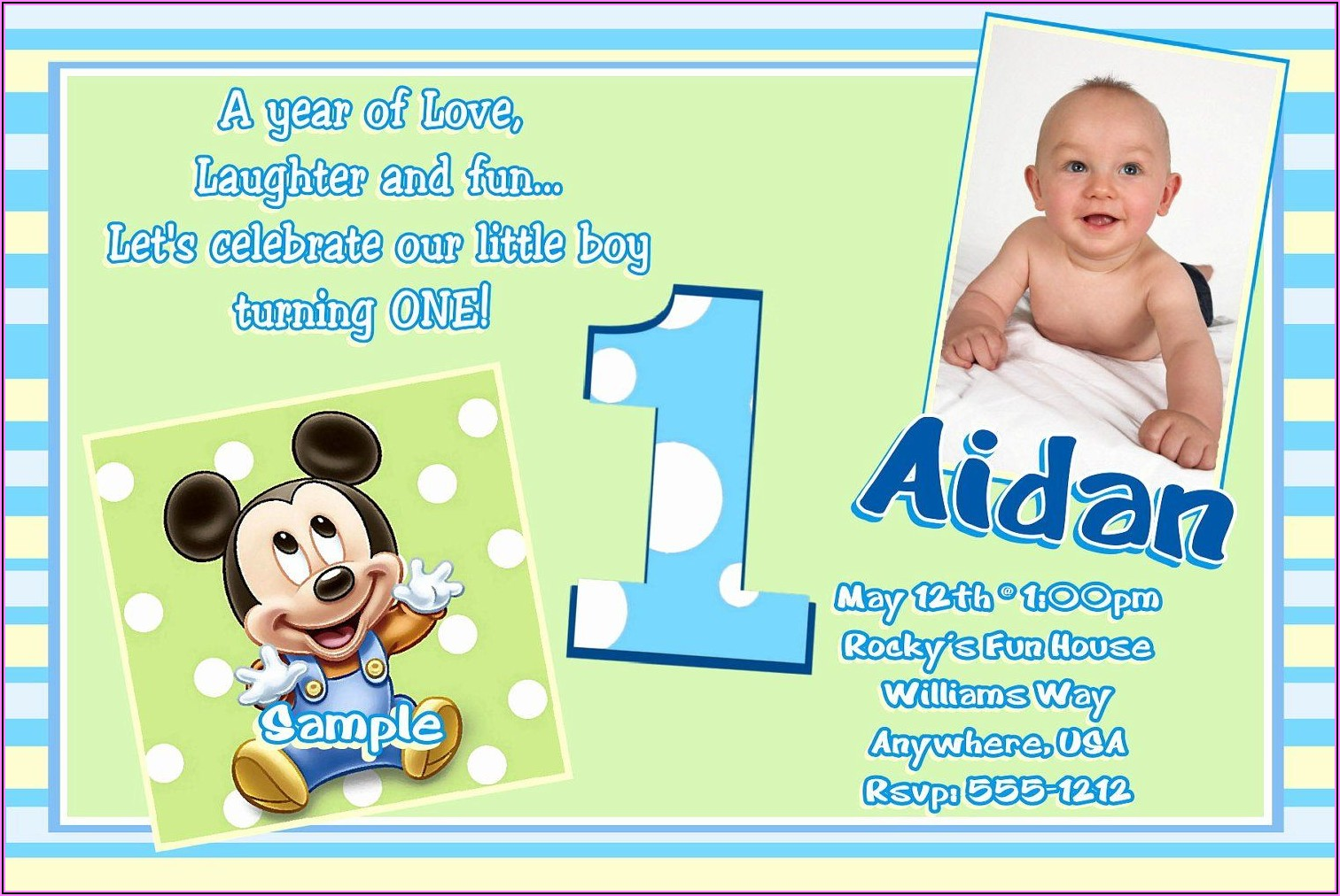 First Birthday Invitations Boy Message