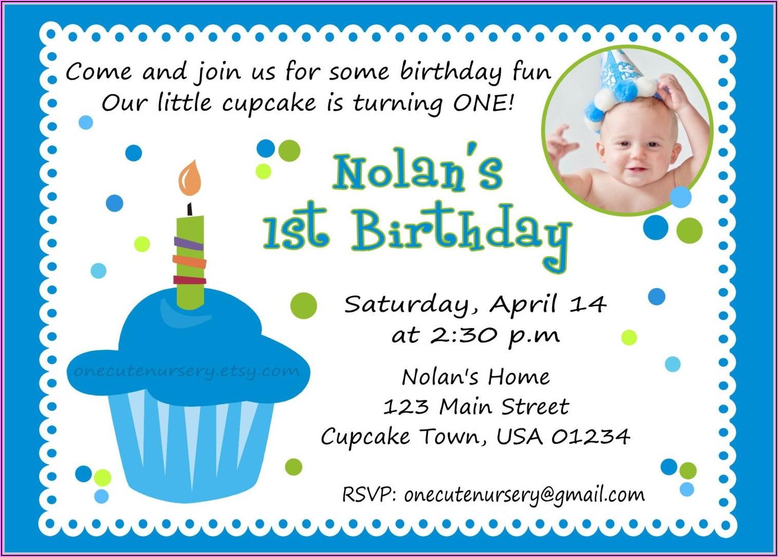 First Birthday Invitations Boy Wording
