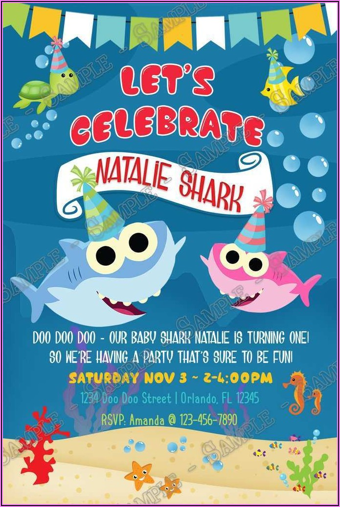 Free Baby Shark Birthday Invitation Card