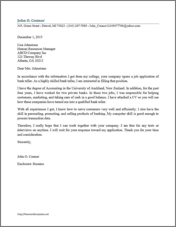 Free Bank Teller Cover Letter Sample
