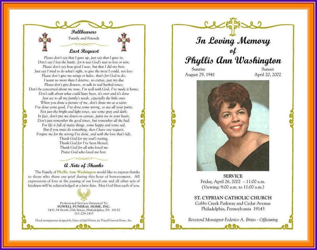 Free Catholic Funeral Program Template Word