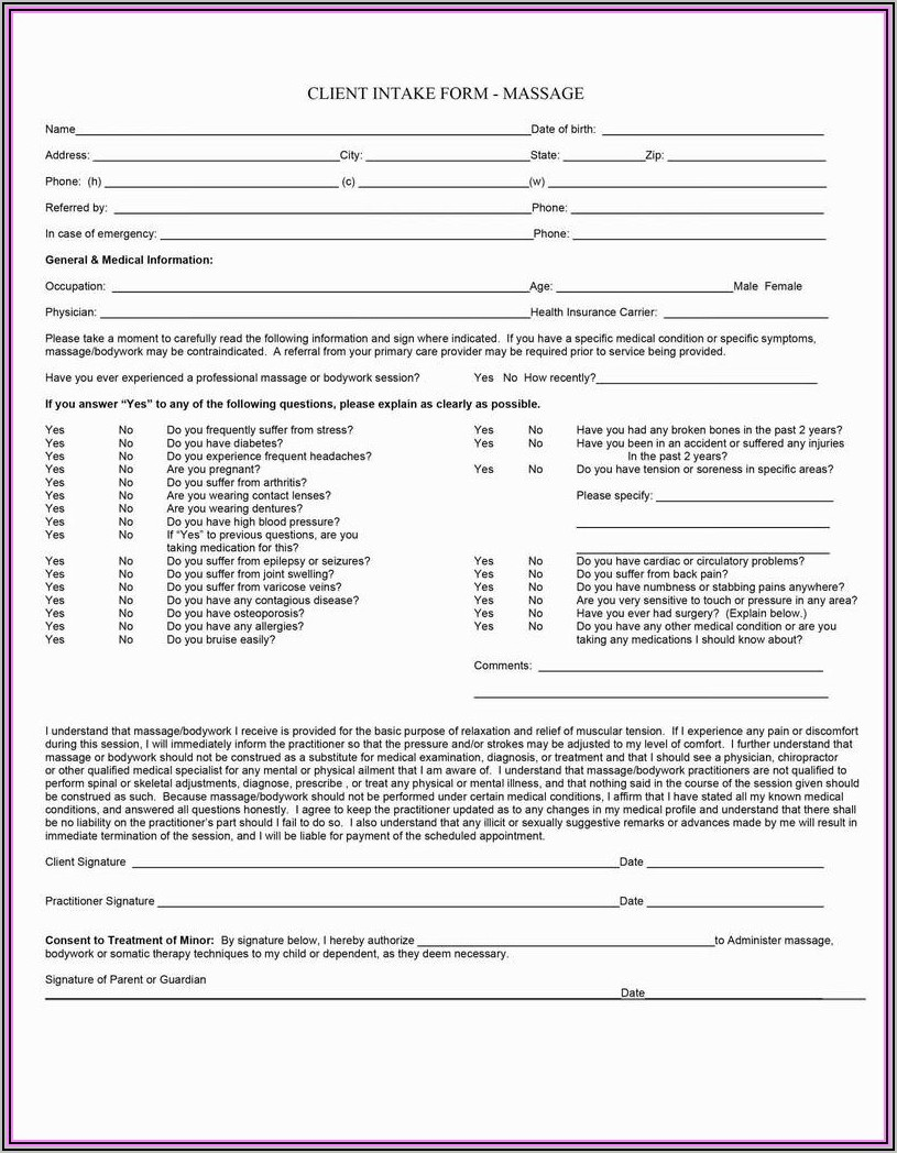 Free Massage Therapy Invoice Forms