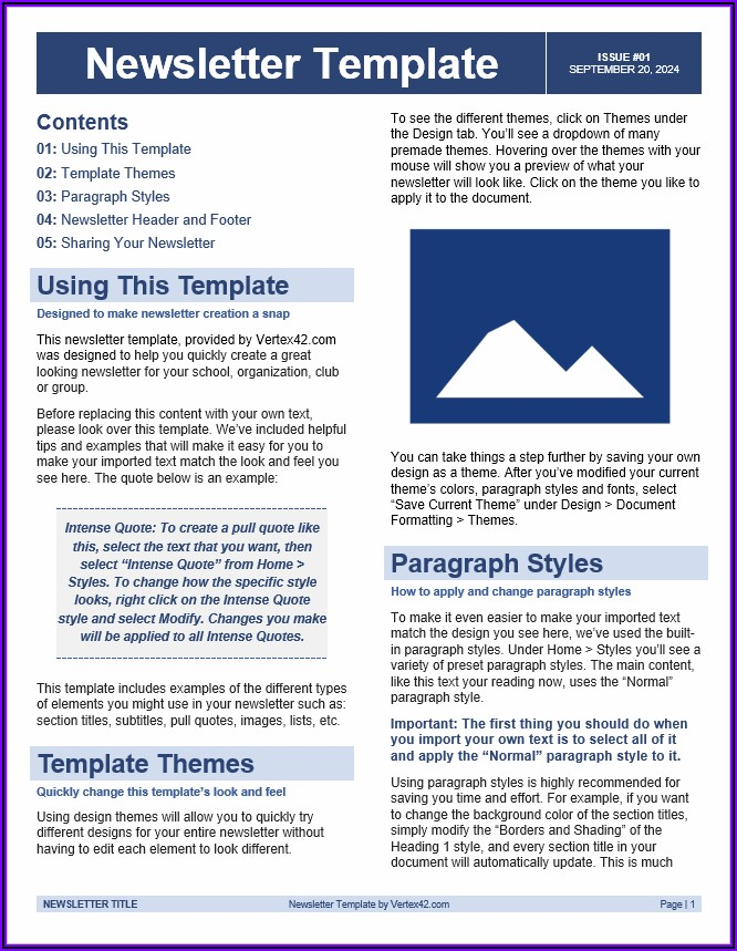 Free Newsletter Templates Word Format