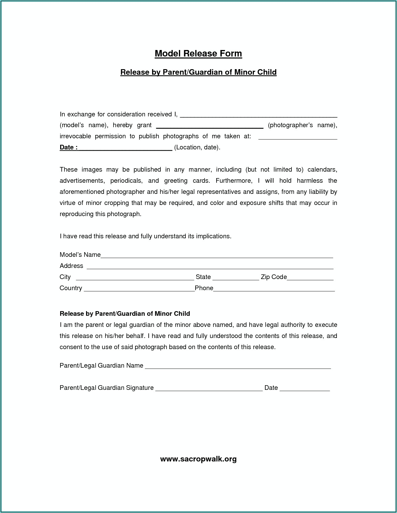 Free Photography Model Release Form